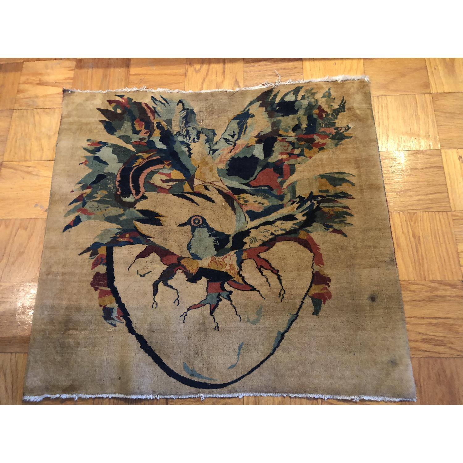 Pale Yellow Area Rug w/ Bird Pattern - image-4