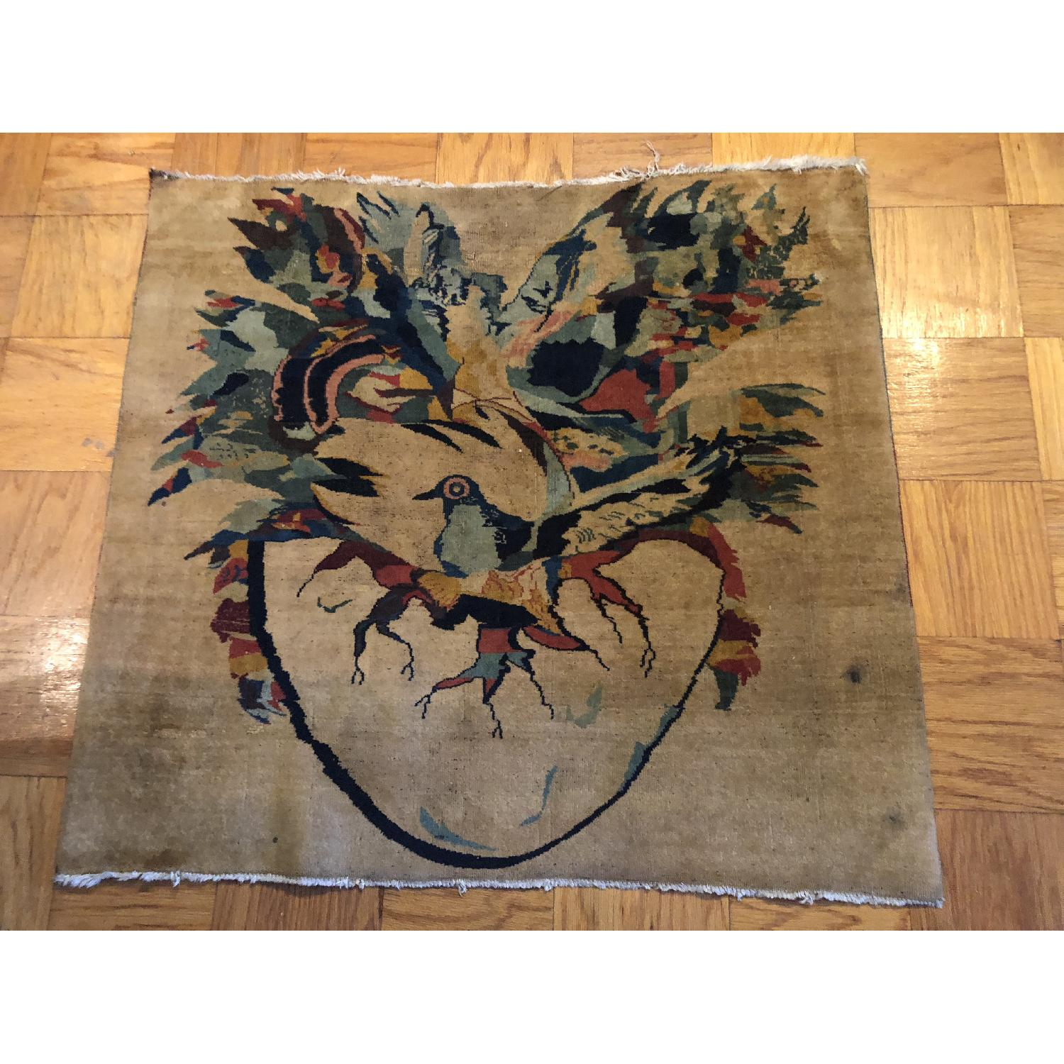 Pale Yellow Area Rug w/ Bird Pattern - image-3