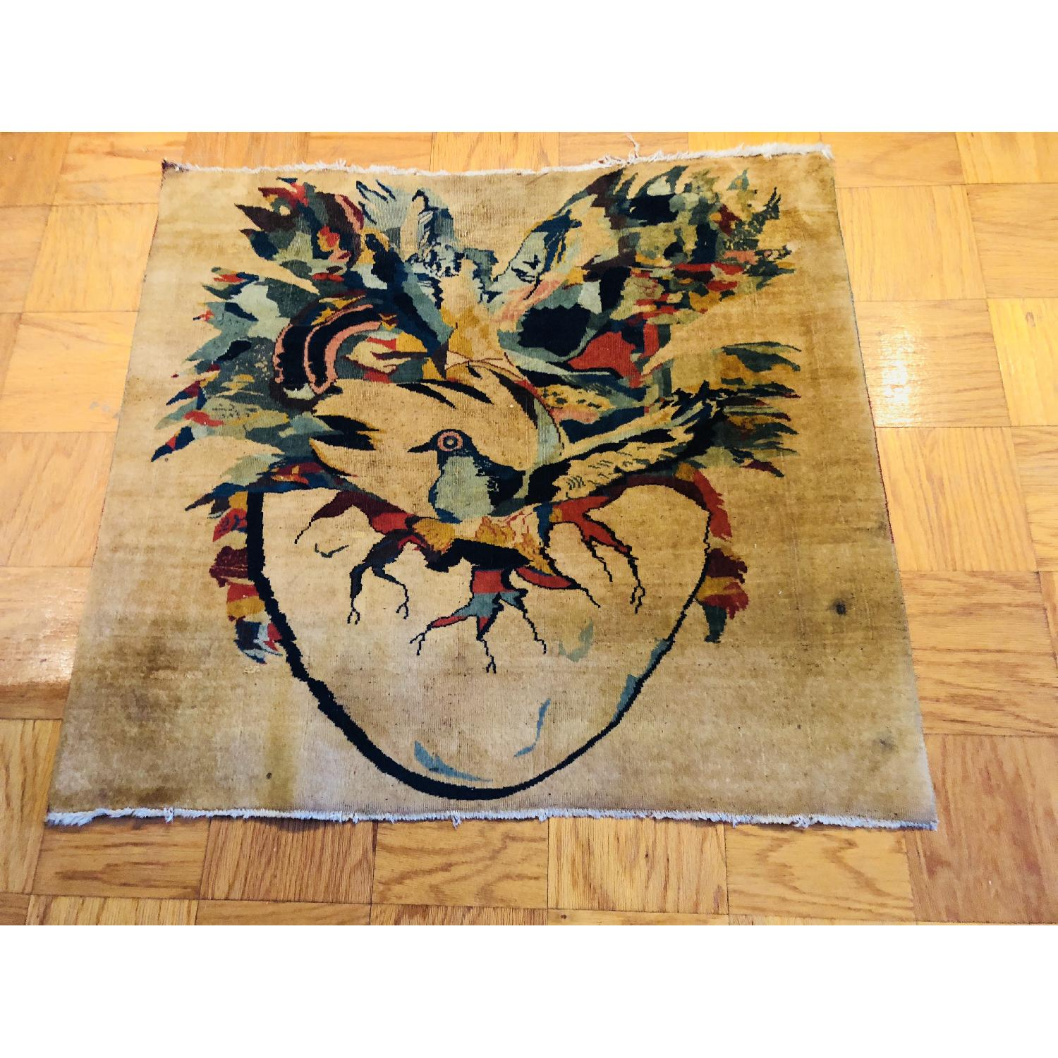 Pale Yellow Area Rug w/ Bird Pattern - image-2