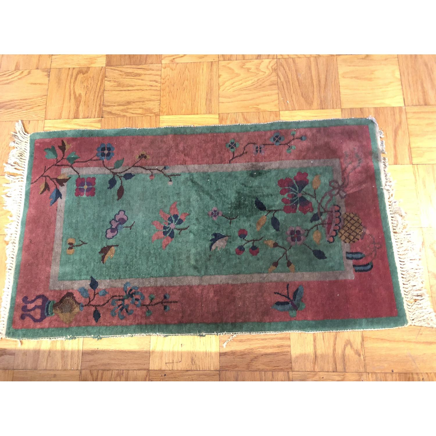 Pink & Green Small Rug w/ Flowers Pattern - image-4