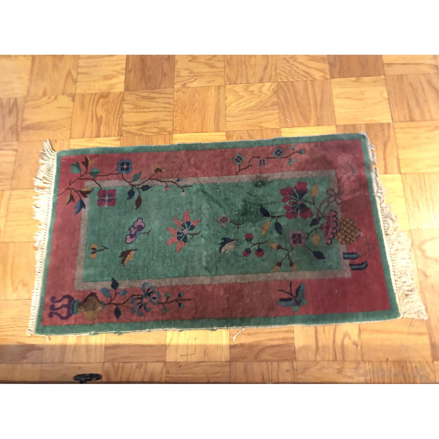 Pink & Green Small Rug w/ Flowers Pattern - image-1
