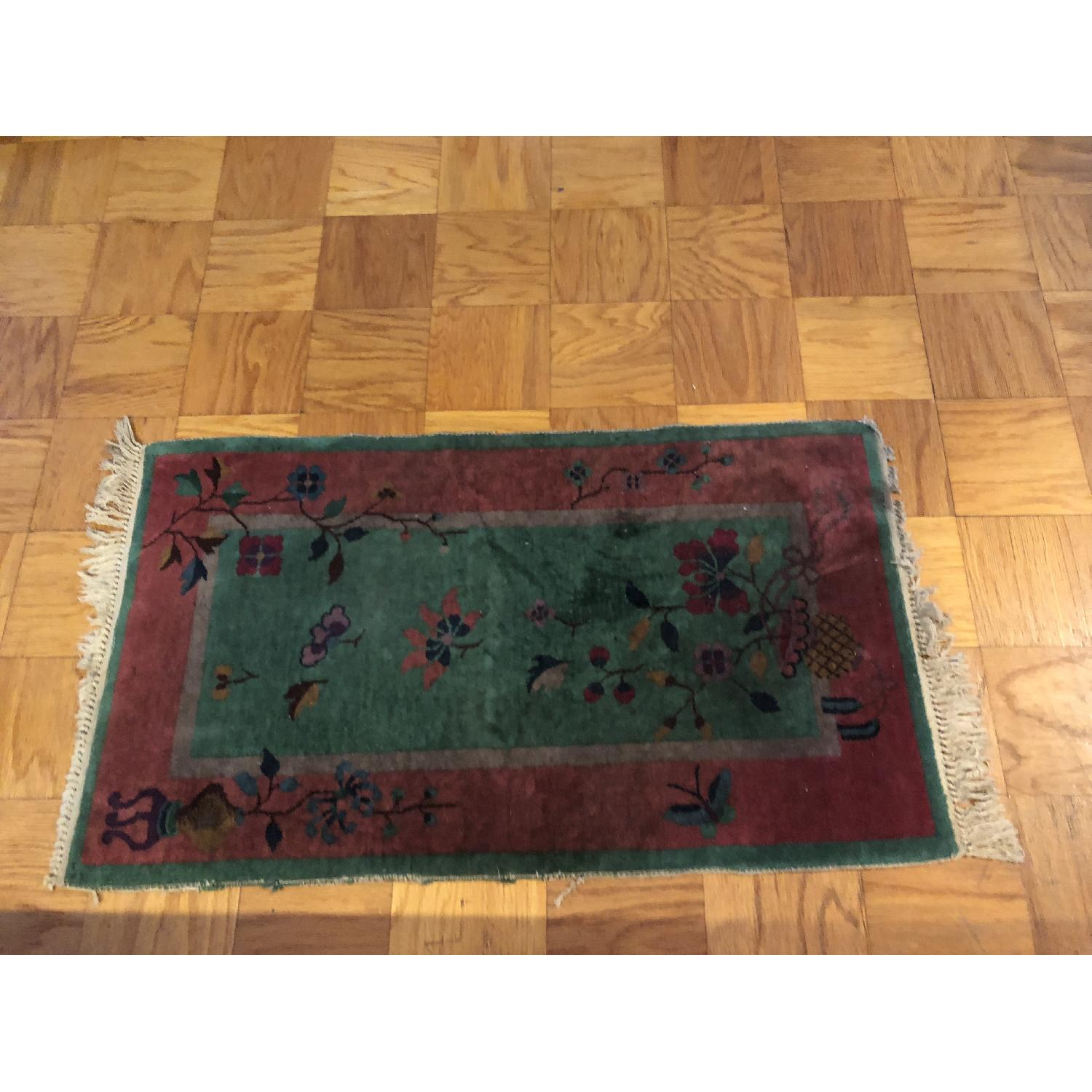 Pink & Green Small Rug w/ Flowers Pattern - image-3
