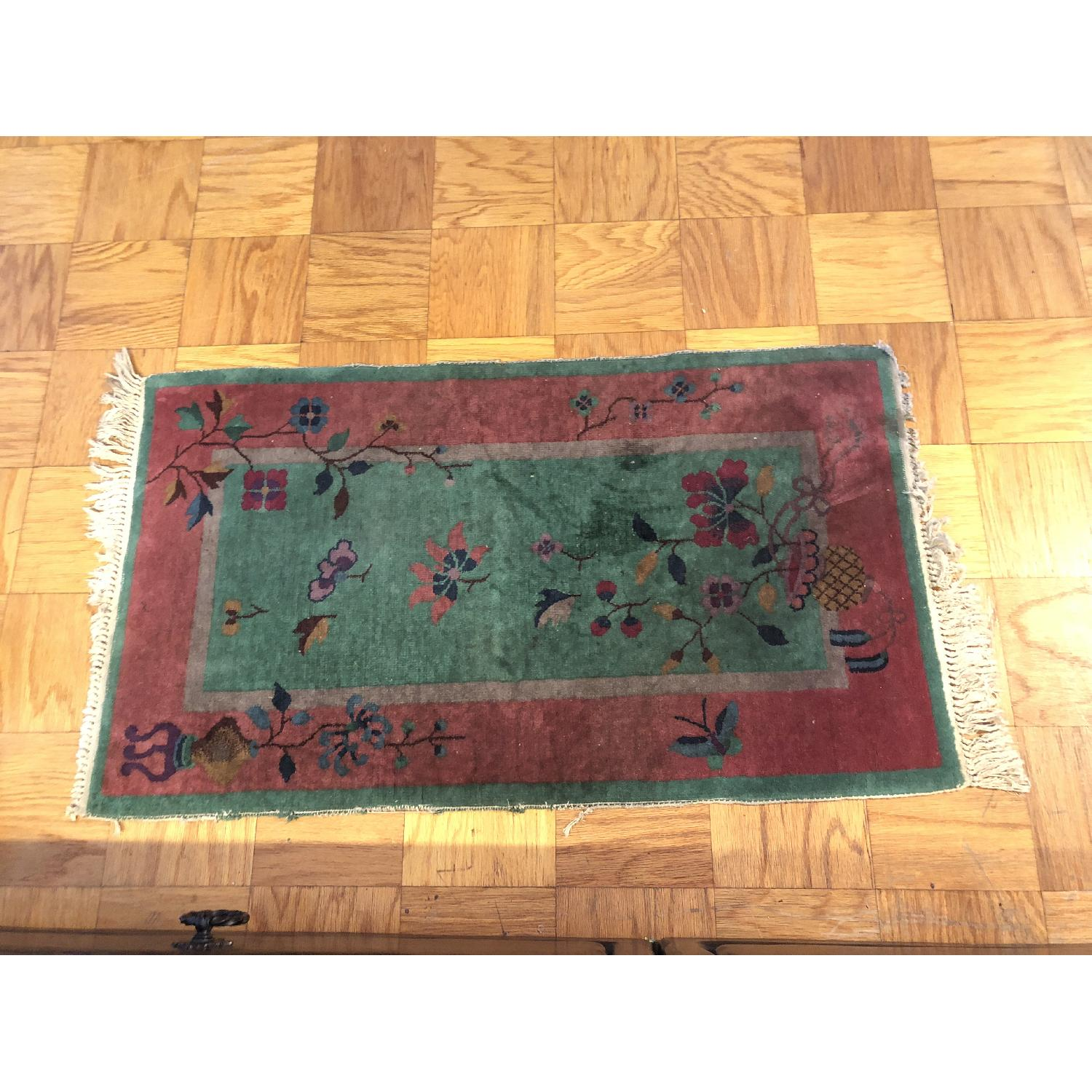 Pink & Green Small Rug w/ Flowers Pattern - image-2