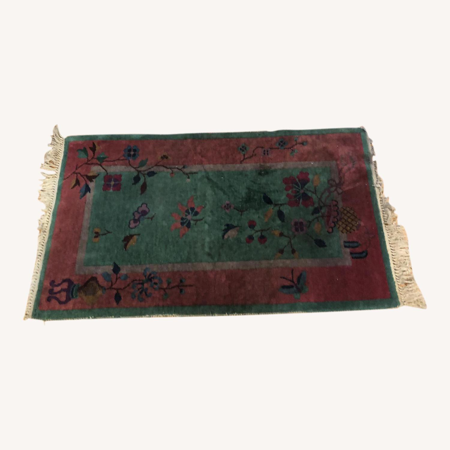 Pink & Green Small Rug w/ Flowers Pattern - image-0