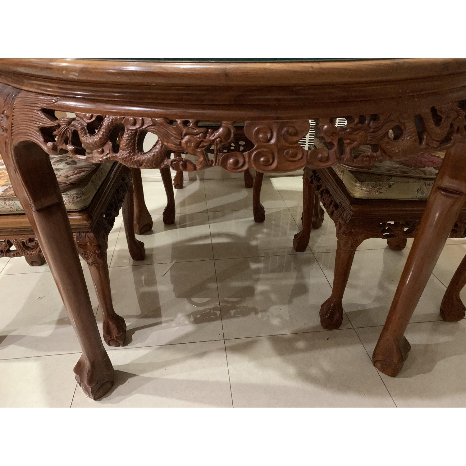 Chinese Hand Carved Shell Design 7-Piece Dining Set - image-1