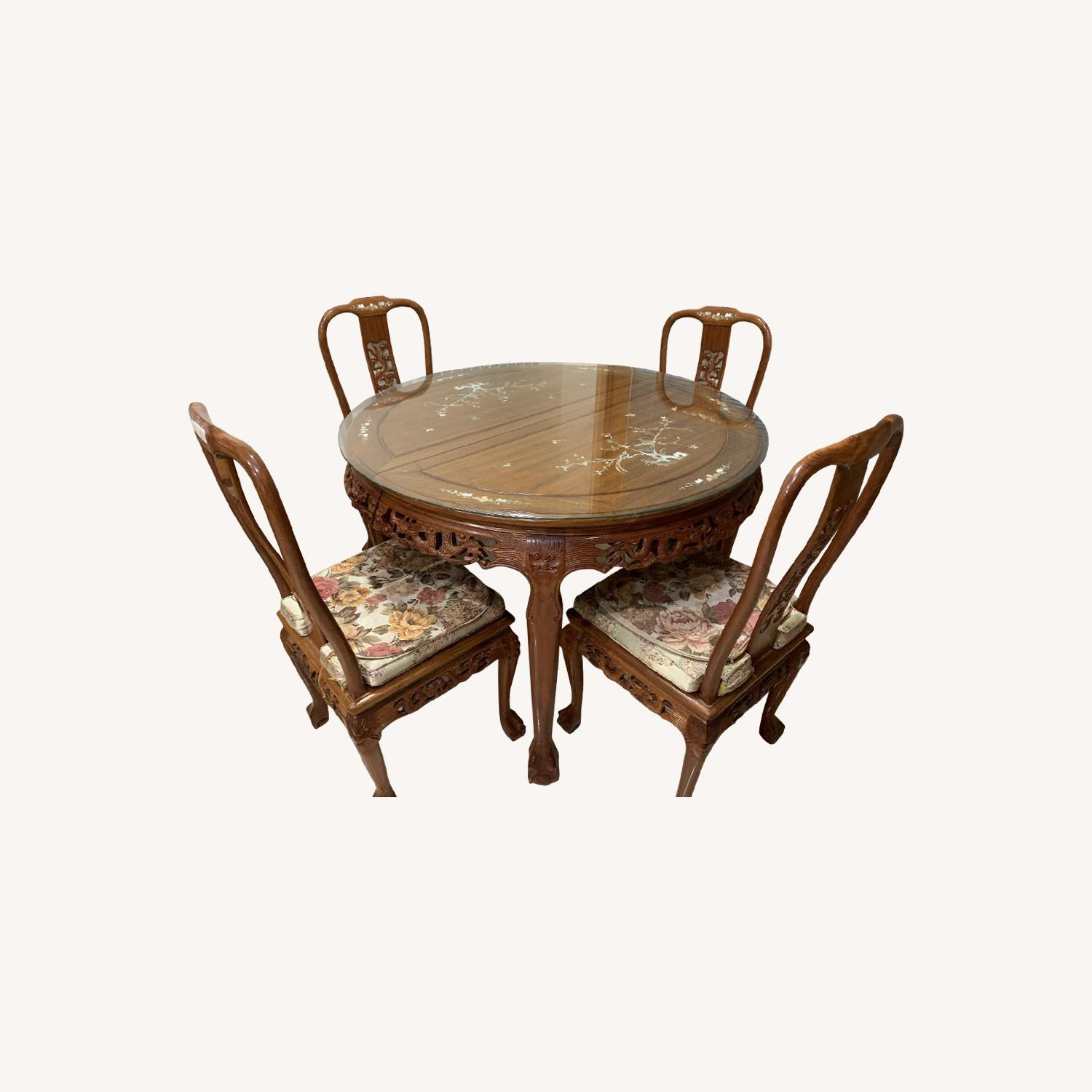 Chinese Hand Carved Shell Design 7-Piece Dining Set - image-0