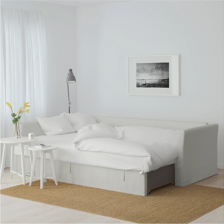 Ikea Holmsund Sleeper Sectional Sofa in Orrsta Light Grey - image-2