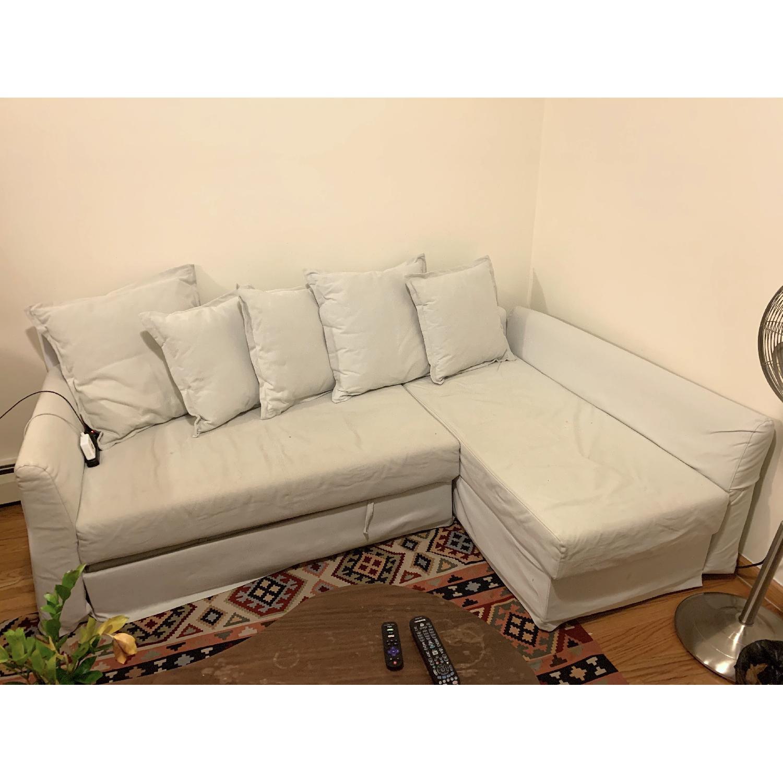 Ikea Holmsund Sleeper Sectional Sofa in Orrsta Light Grey - image-0
