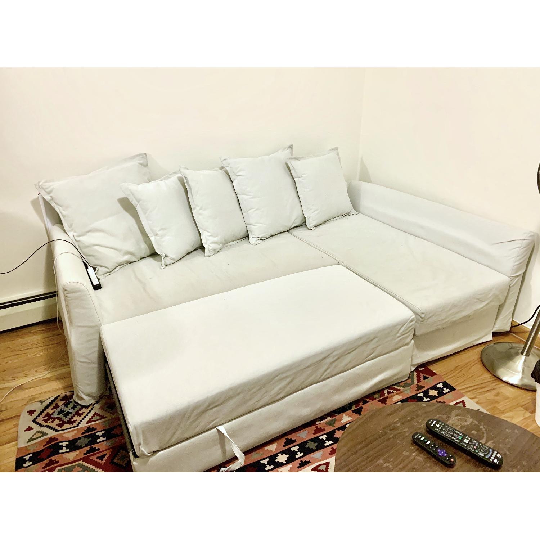 Ikea Holmsund Sleeper Sectional Sofa in Orrsta Light Grey - image-8