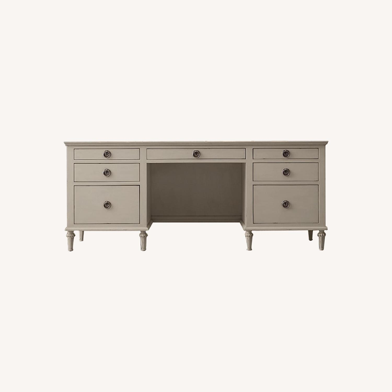 "Restoration Hardware Maison 76"" Desk - Antiqued Taupe - image-0"