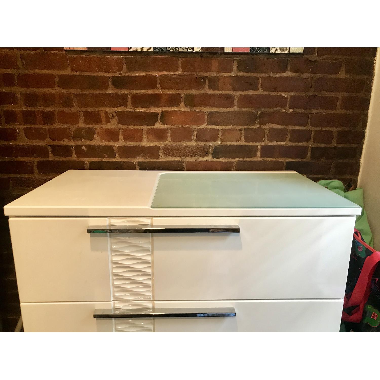 Ashley Modern White Dresser w/ Silver Handle Accents - image-2