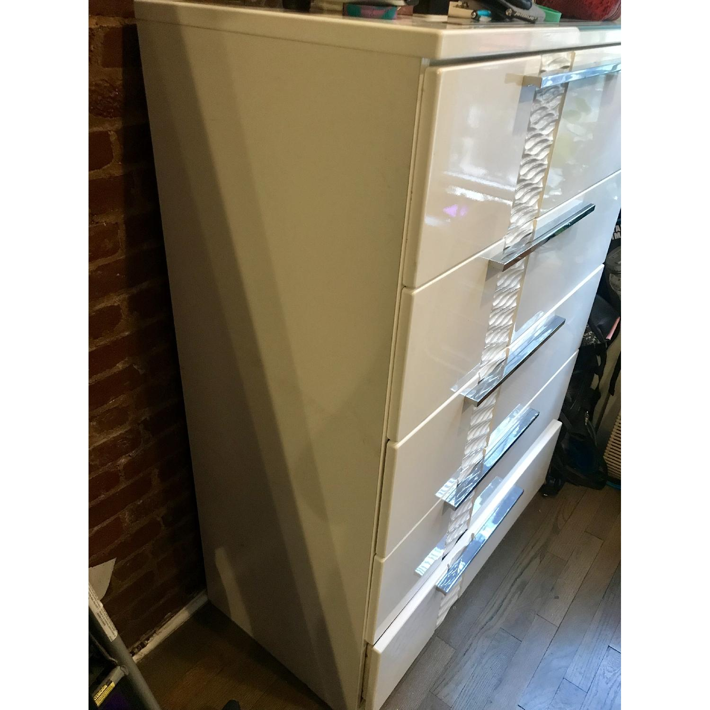 Ashley Modern White Dresser w/ Silver Handle Accents - image-3