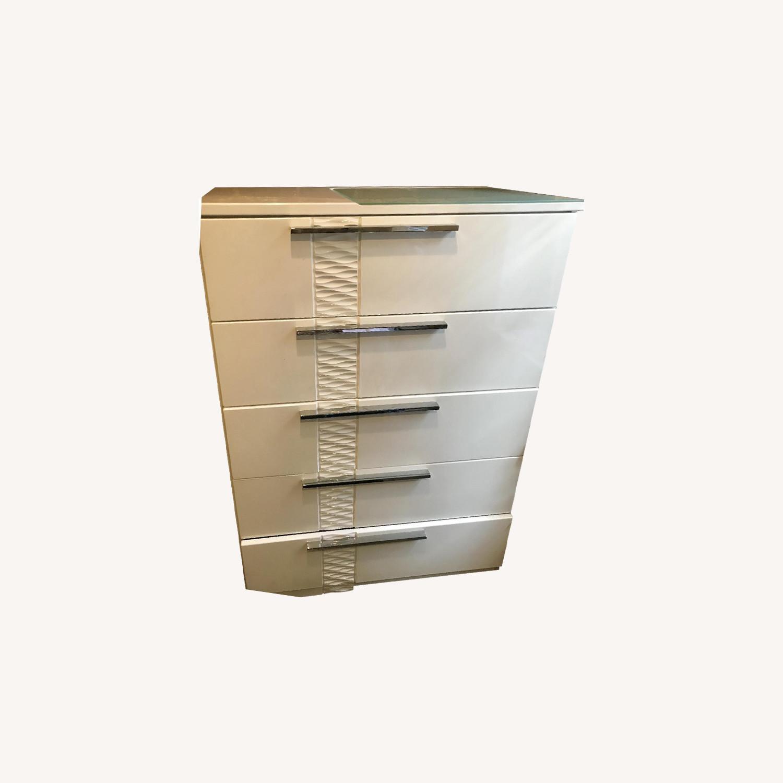 Ashley Modern White Dresser w/ Silver Handle Accents - image-0