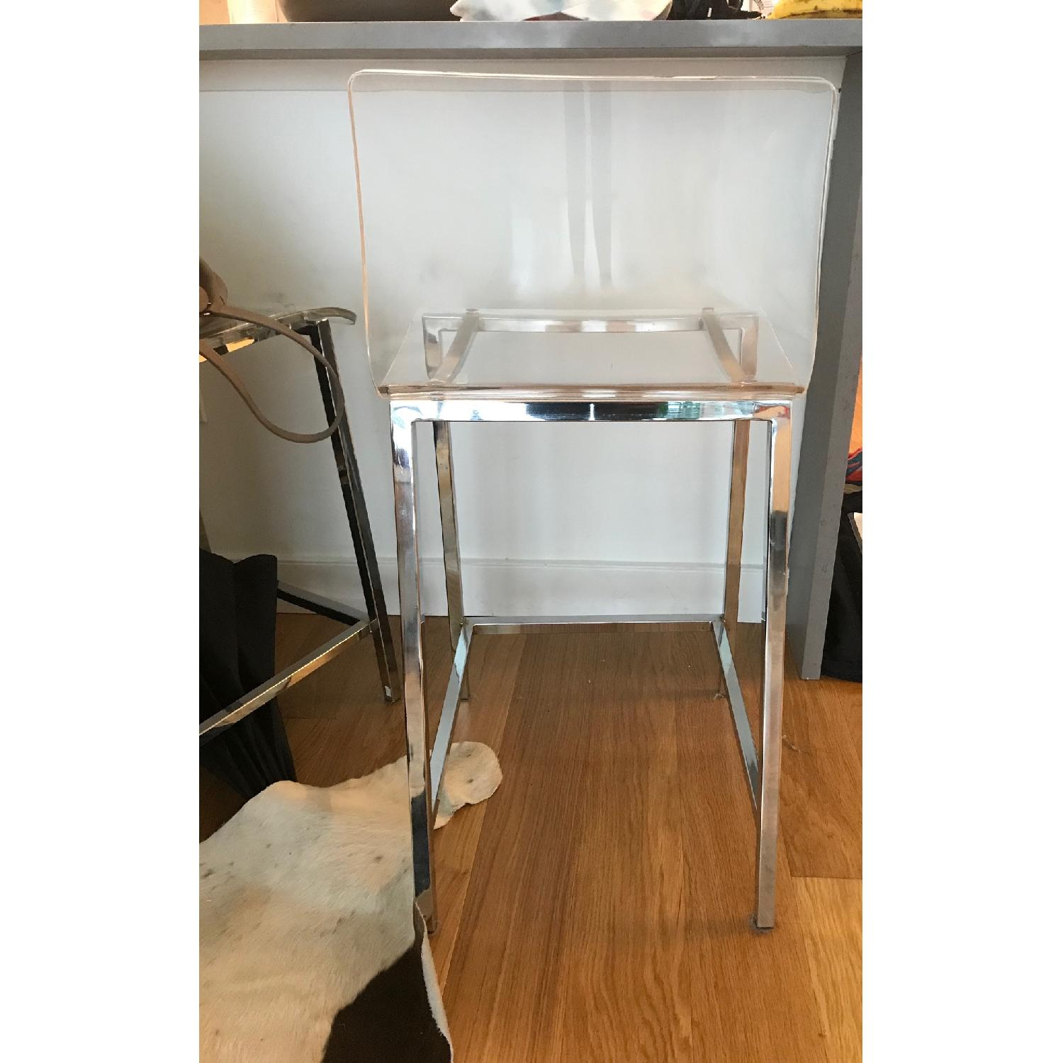 CB2 Clear Barstools in Nickel Finish - image-3