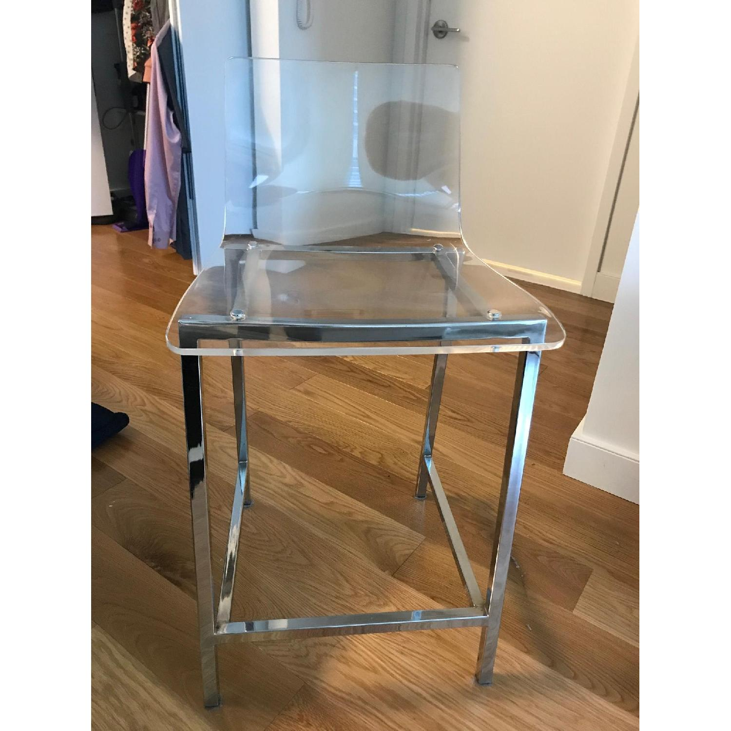 CB2 Clear Barstools in Nickel Finish - image-4