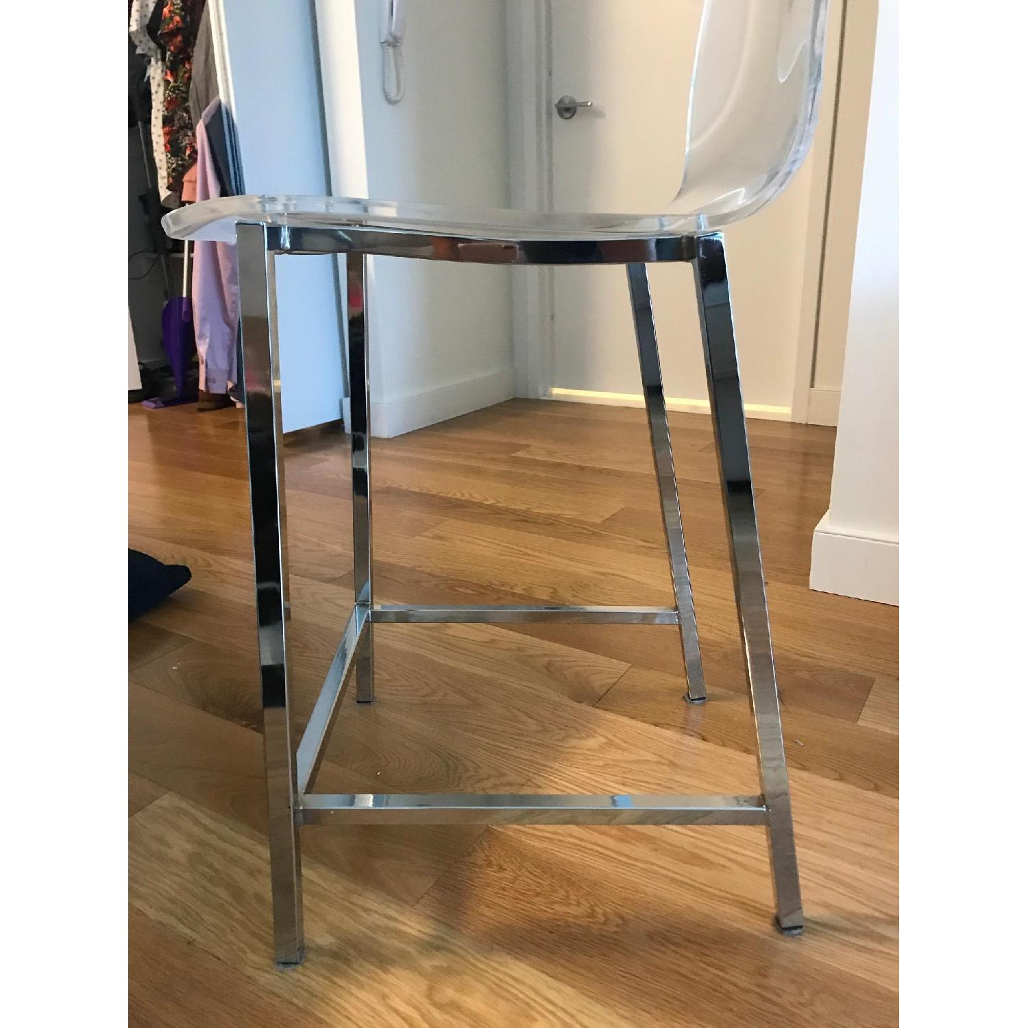 CB2 Clear Barstools in Nickel Finish - image-6