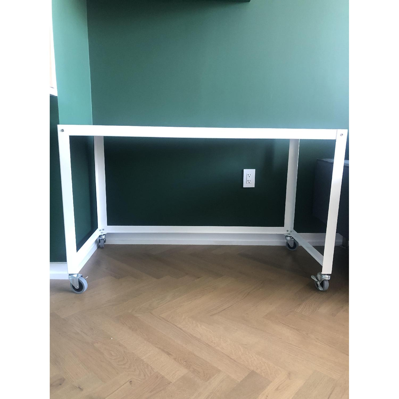 CB2 Metal Rolling Cart Desk - image-1