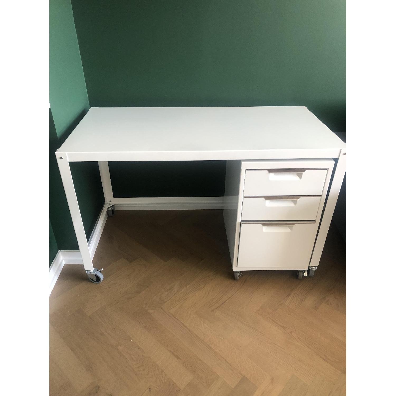 CB2 Metal Rolling Cart Desk - image-2