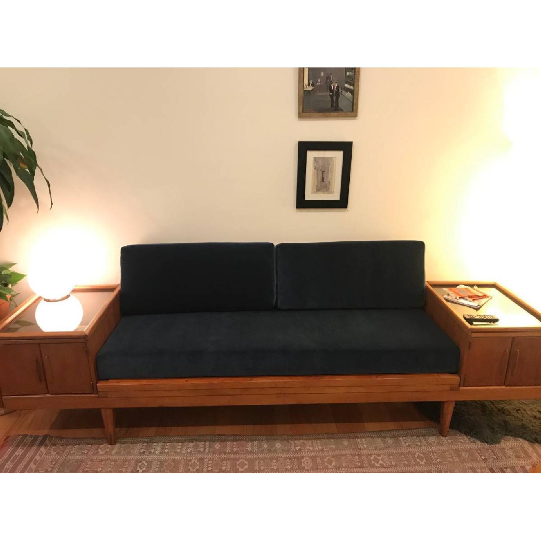 Wooden Platform Sofa w/ Built-On Vitrines - image-1