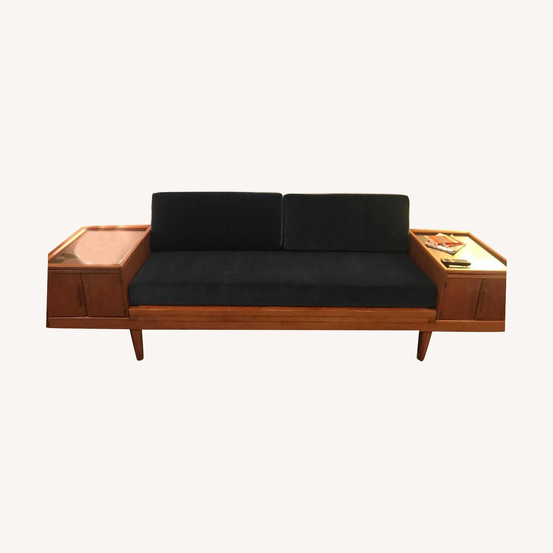 Wooden Platform Sofa w/ Built-On Vitrines - image-0
