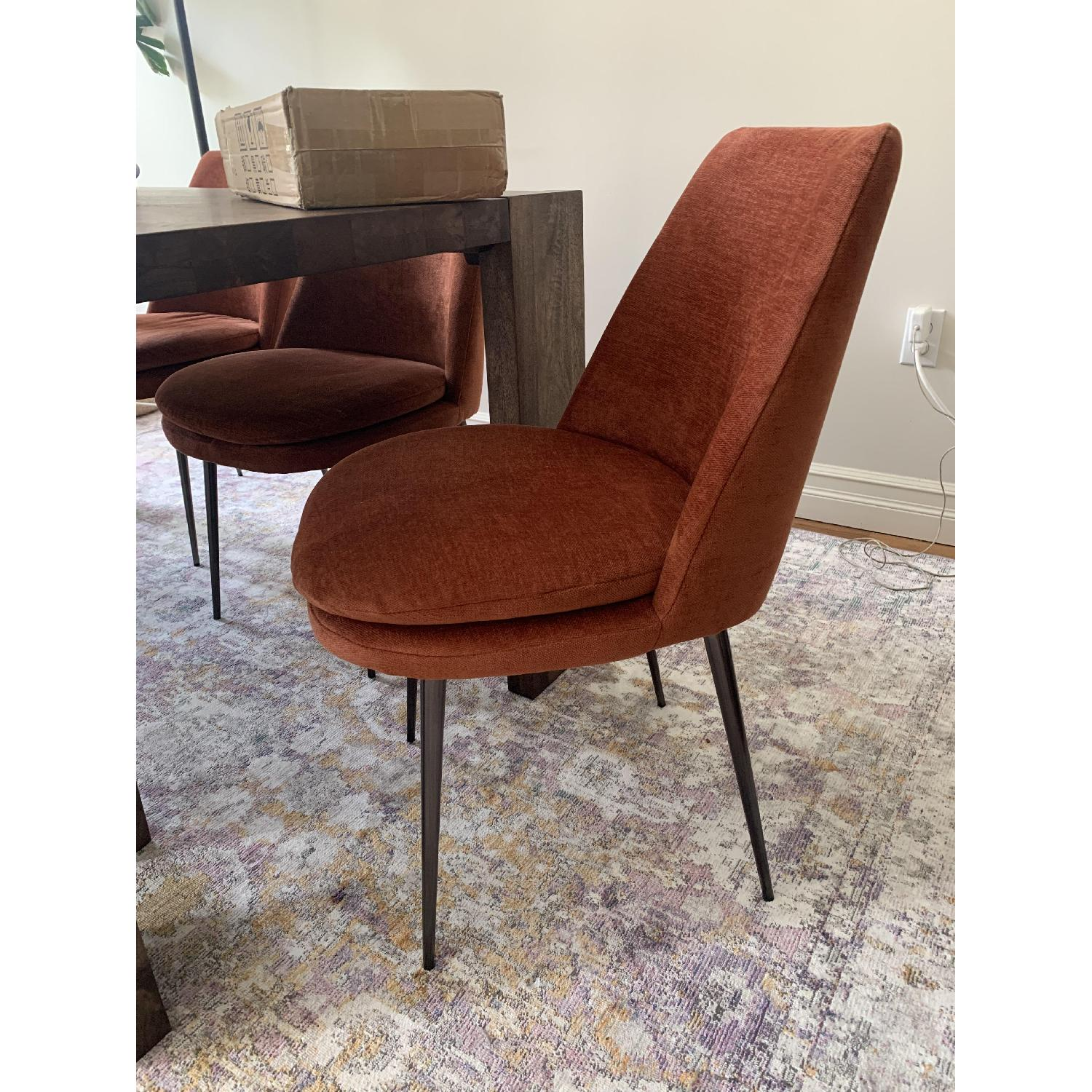 West Elm Distressed Velvet Dining Chairs - image-3
