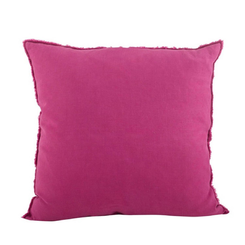 Fringed Fuchsia Design Linen Throw Pillow - image-0