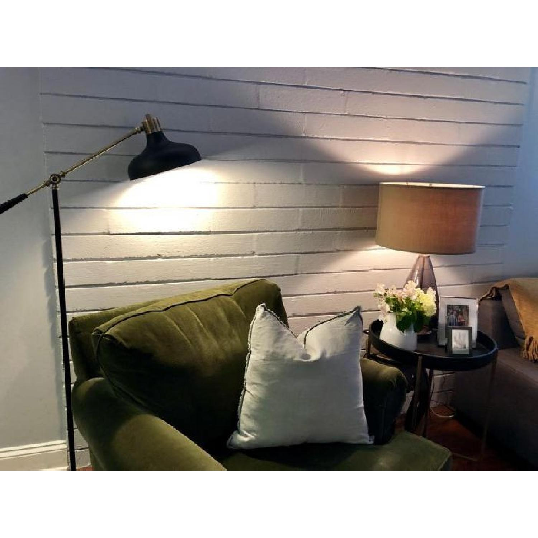 Fringed Fuchsia Design Linen Throw Pillow - image-1