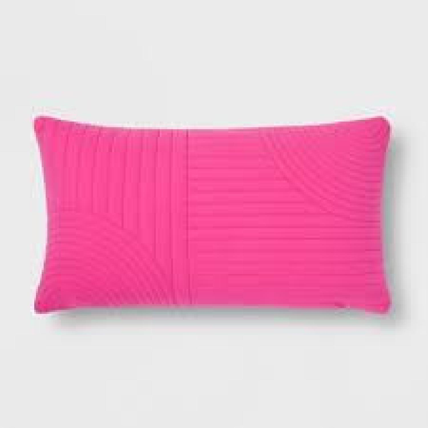 Hot Pink Quilted Lumbar Pillow - image-1