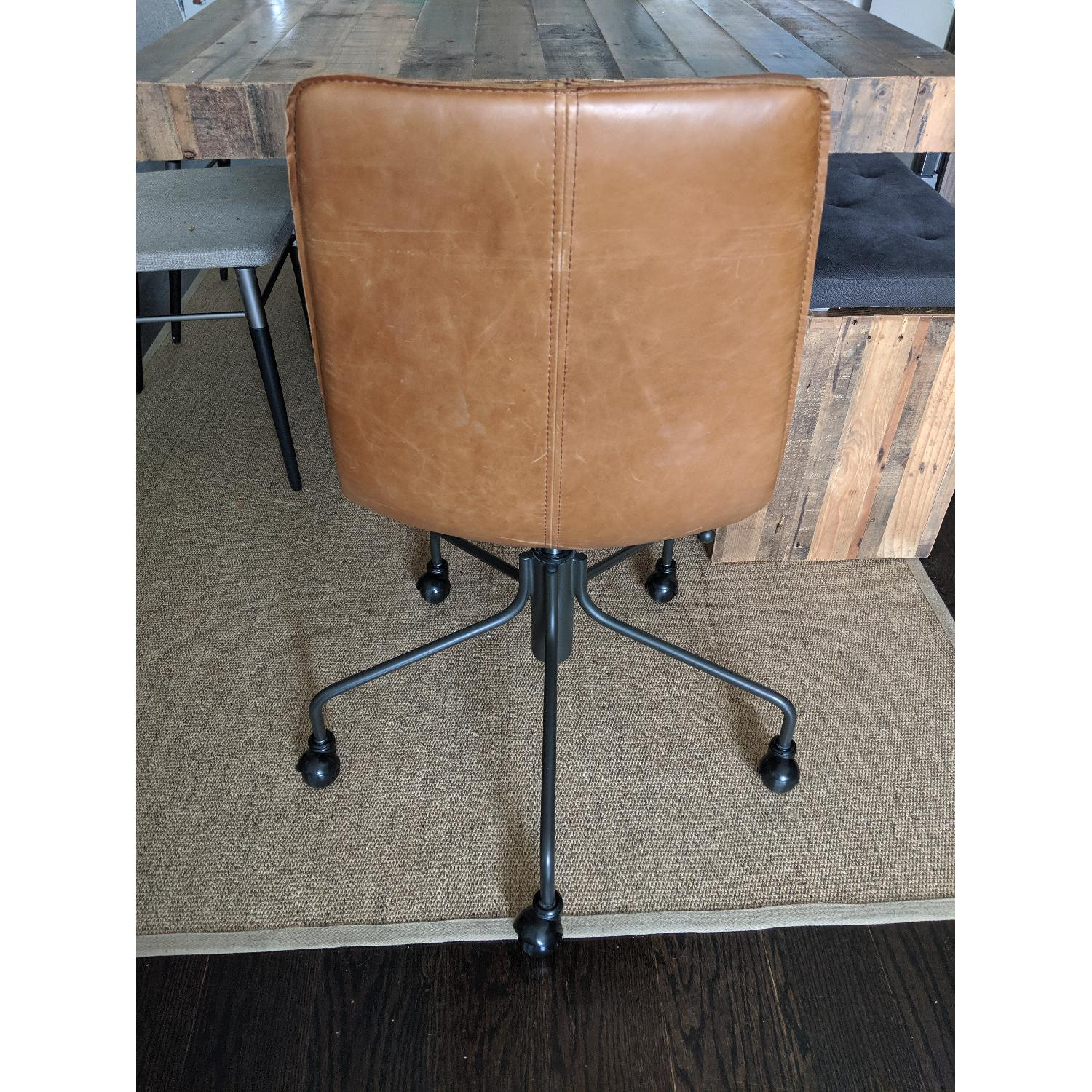 West Elm Slope Leather Swivel Office Chair - image-1