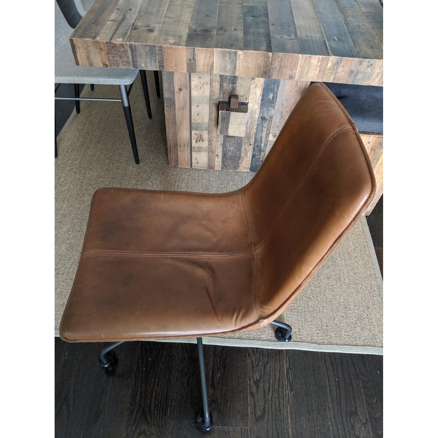 West Elm Slope Leather Swivel Office Chair - image-2
