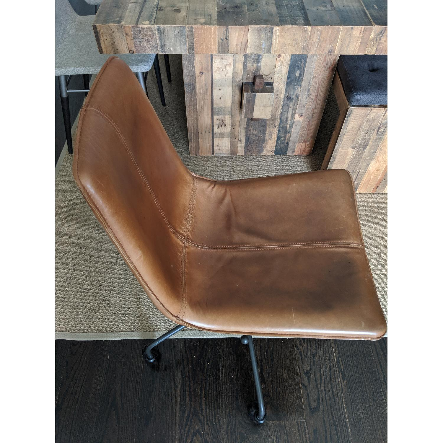 West Elm Slope Leather Swivel Office Chair - image-3