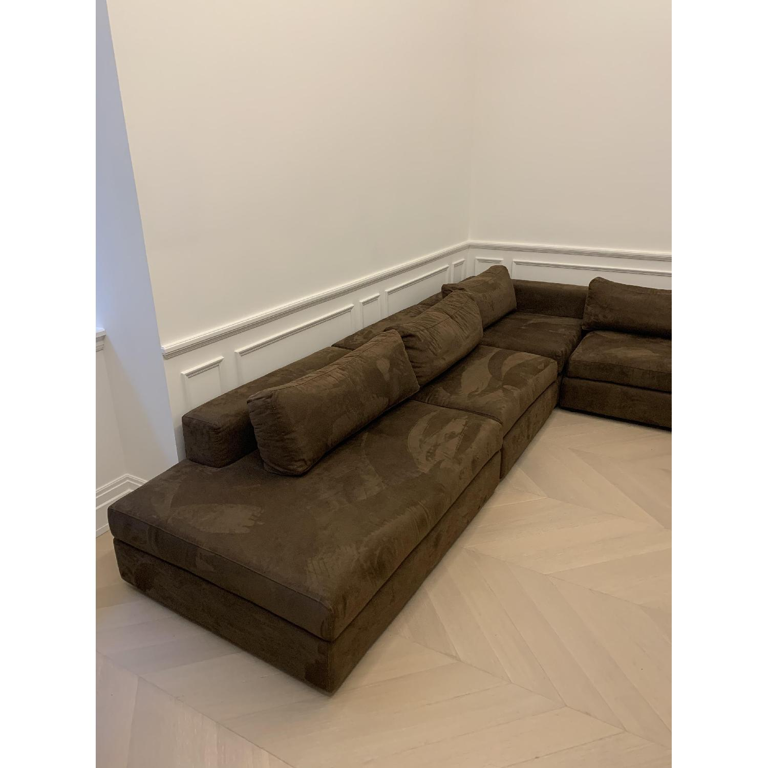 Taylor Made Brown Suede 6-Piece Sectional Sofa - image-1