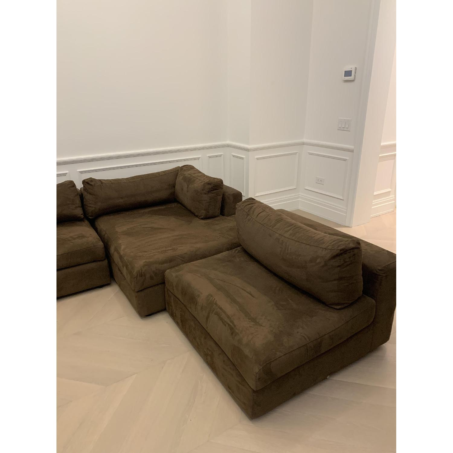 Taylor Made Brown Suede 6-Piece Sectional Sofa - image-6