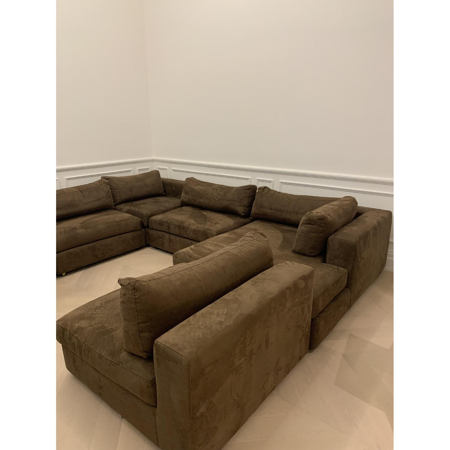 Taylor Made Brown Suede 6-Piece Sectional Sofa - image-11