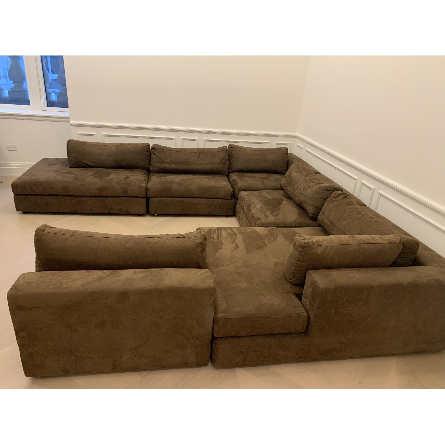 Taylor Made Brown Suede 6-Piece Sectional Sofa - image-12