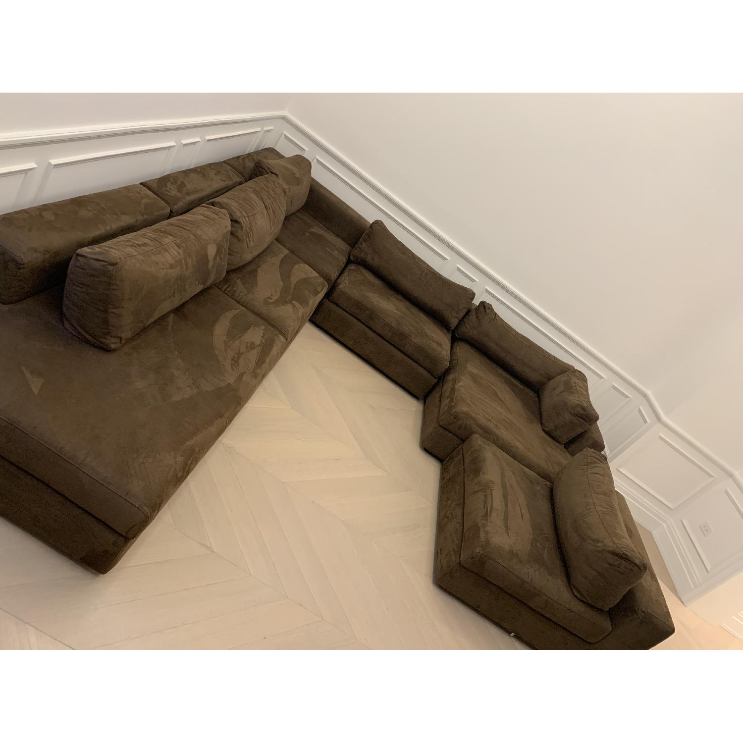 Taylor Made Brown Suede 6-Piece Sectional Sofa - image-5