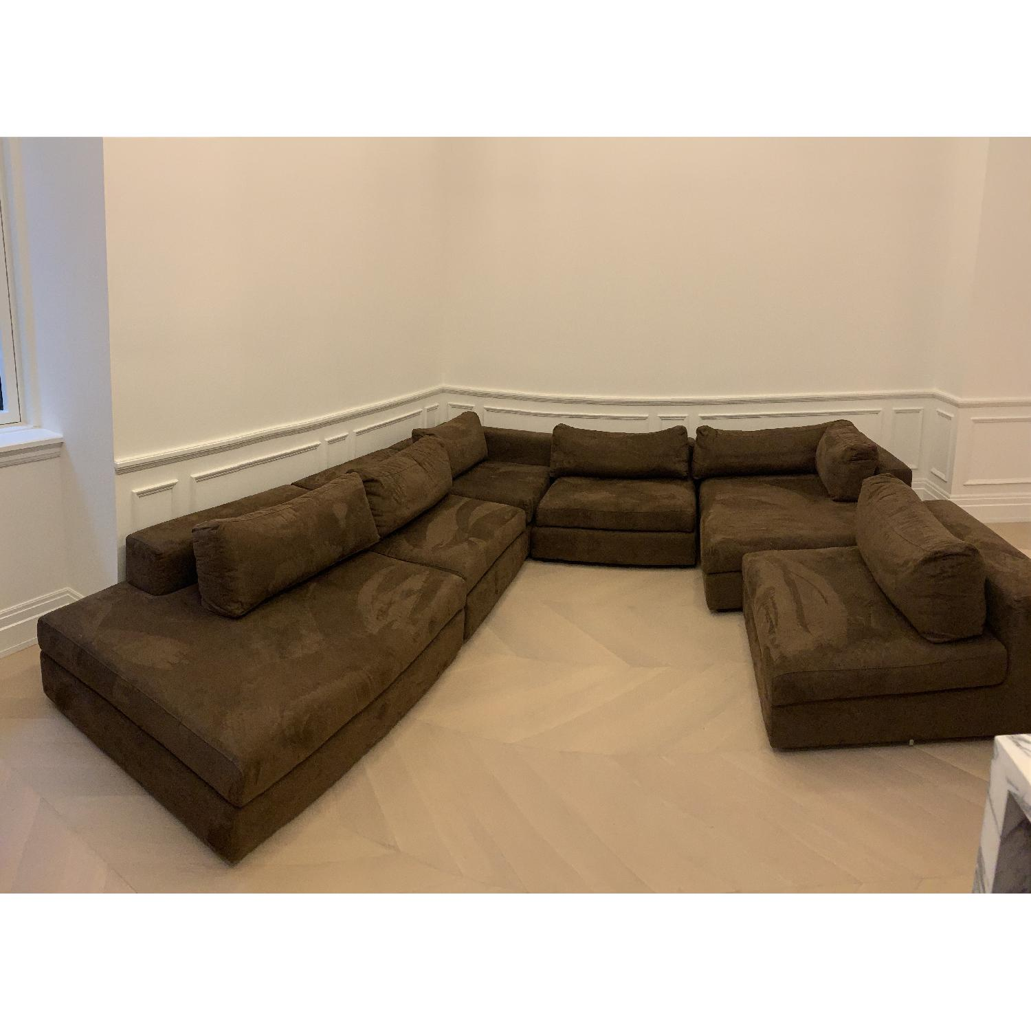 Taylor Made Brown Suede 6-Piece Sectional Sofa - image-14