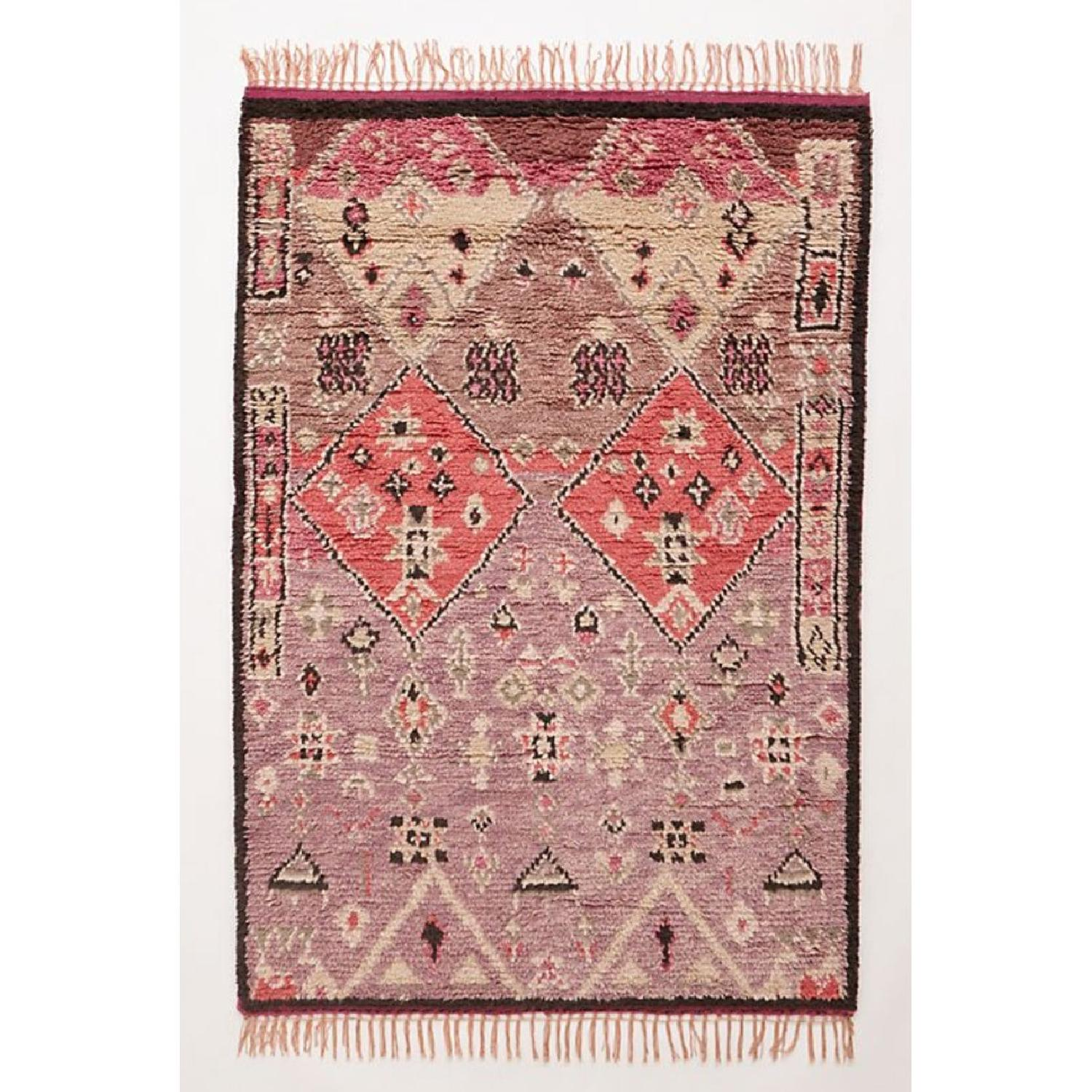 Anthropologie Hand-Knotted Double Diamond Rug - image-0