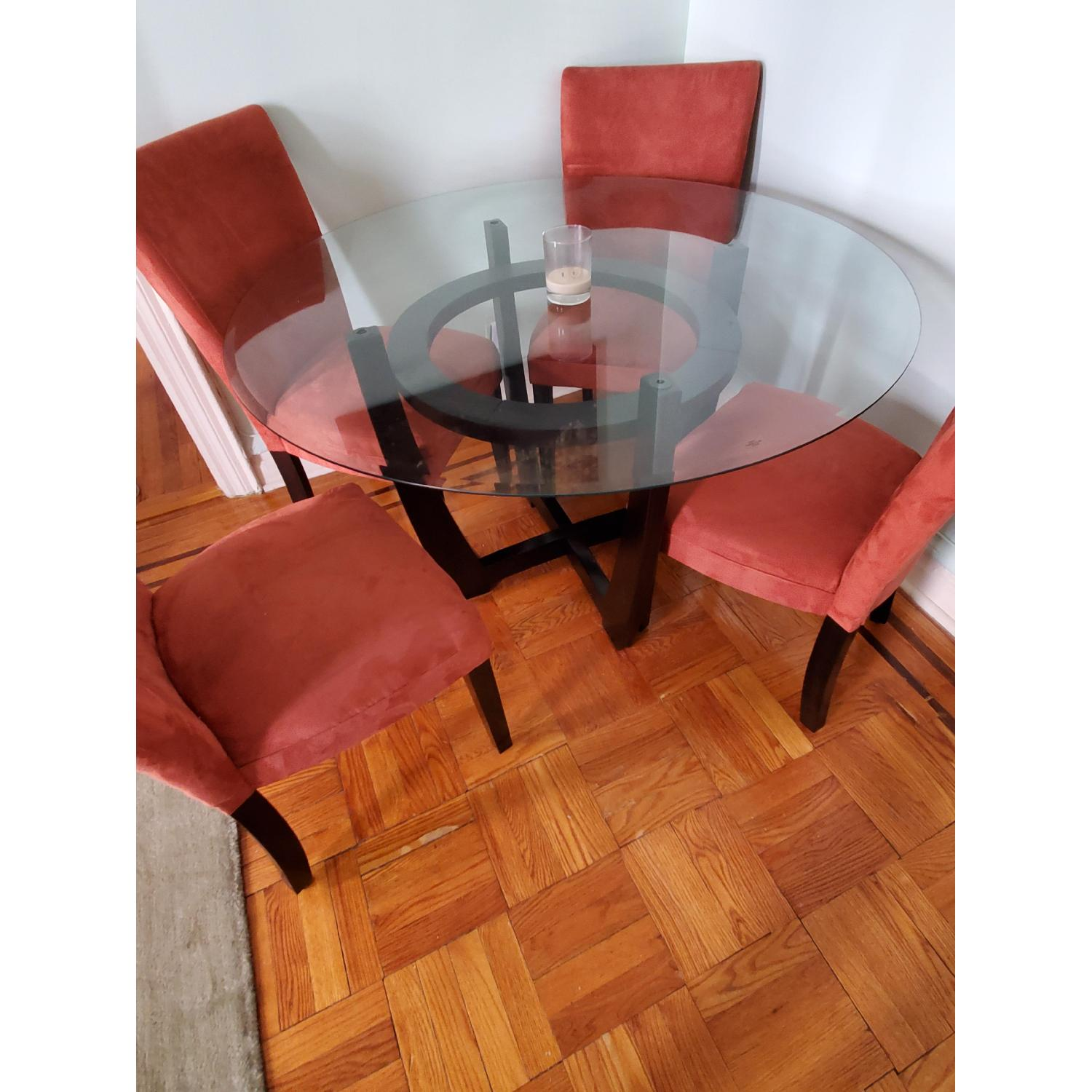 Coaster Round Glass Top Dining Table in Cappuccino Finish - image-1