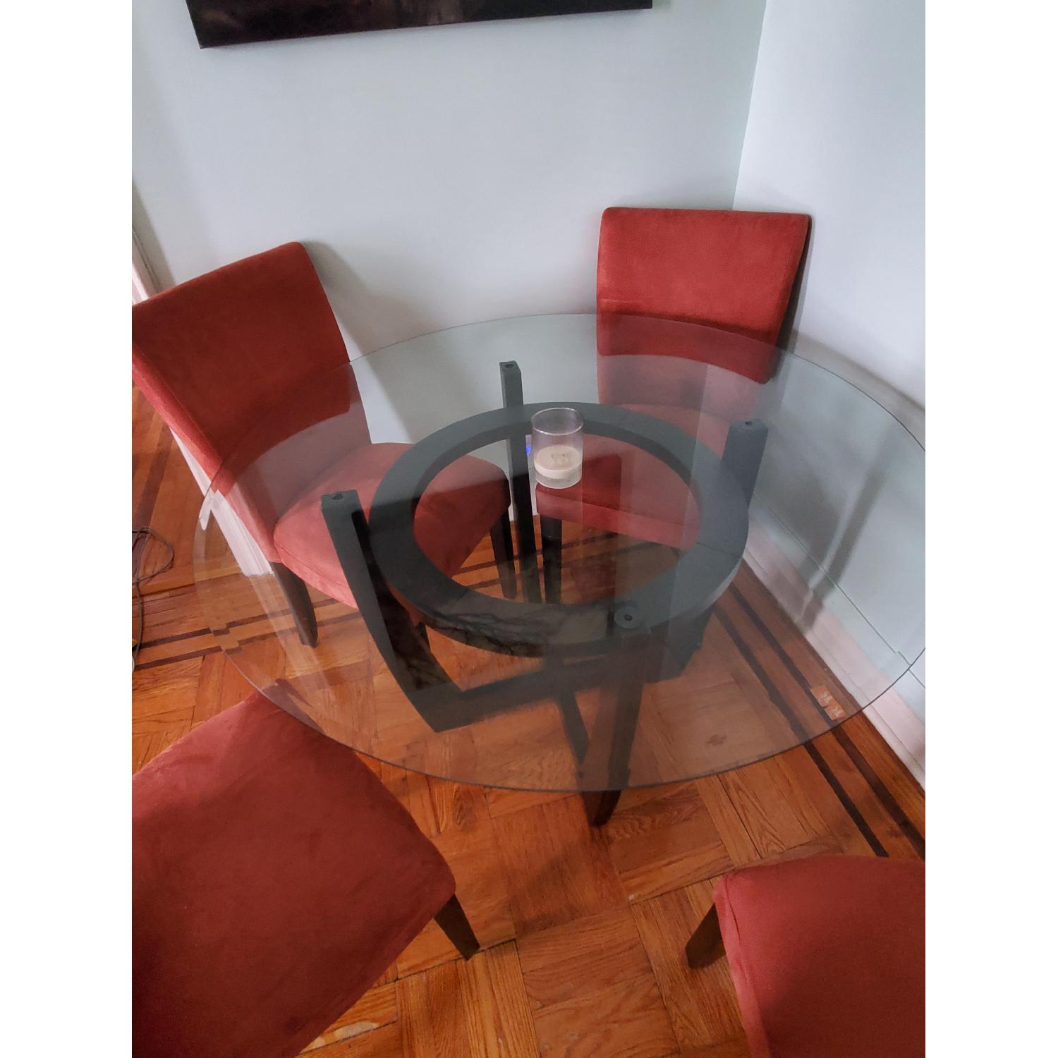 Coaster Round Glass Top Dining Table in Cappuccino Finish - image-3