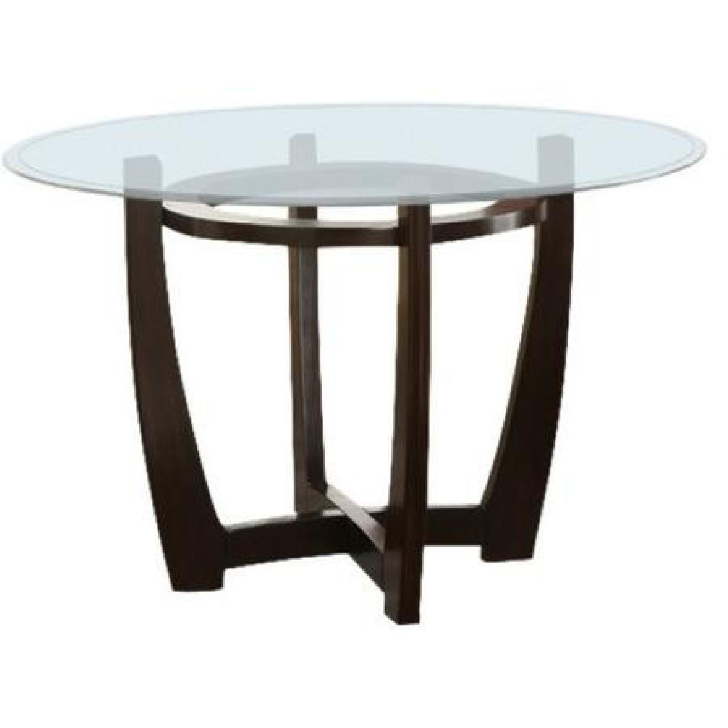 Coaster Round Glass Top Dining Table in Cappuccino Finish - image-0