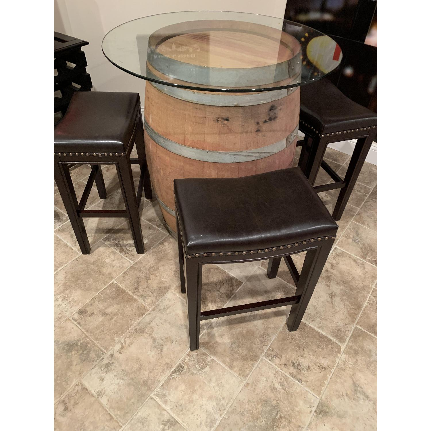 Wine Barrel Glass Top Table w/ 4 Leather Bar Stools - image-3