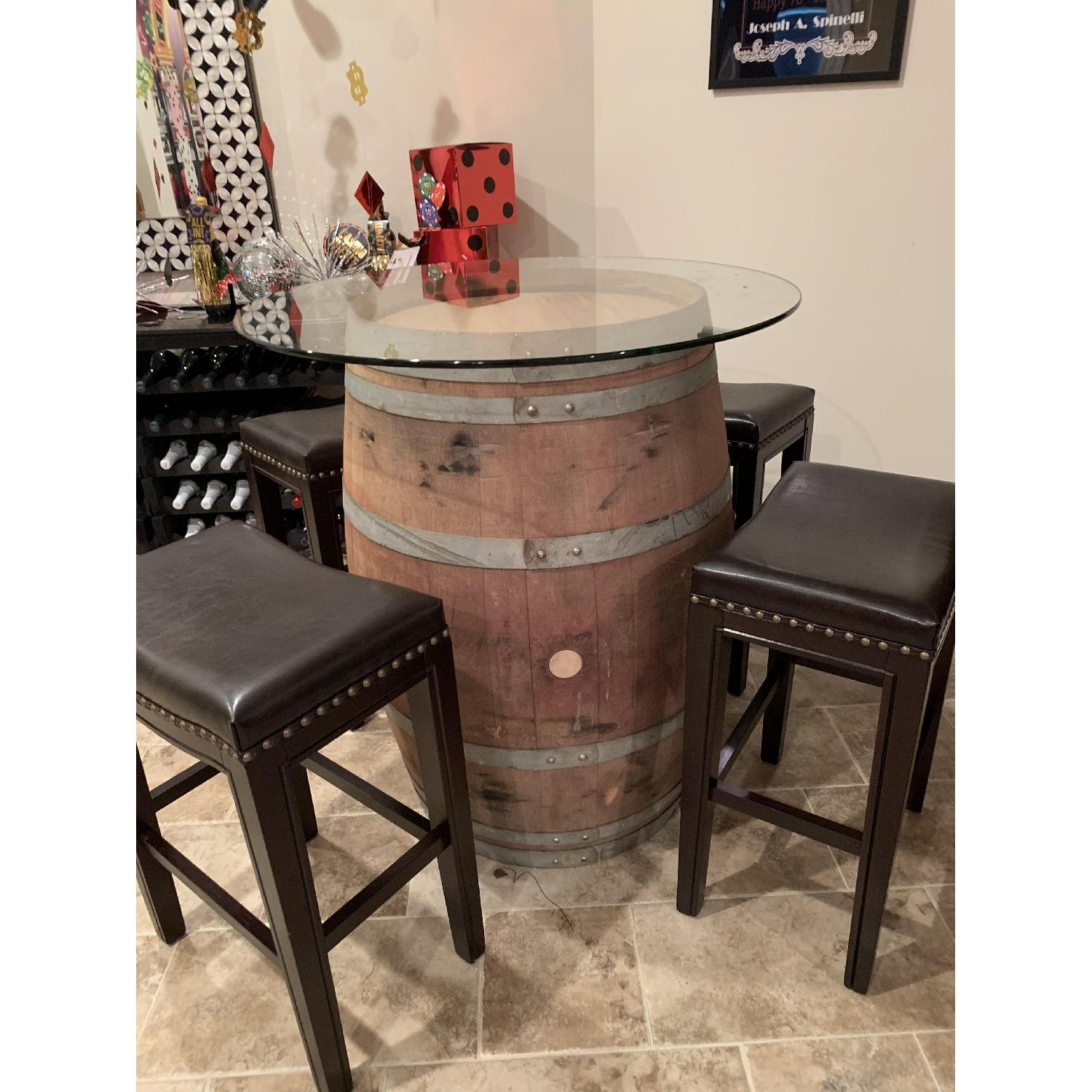 Wine Barrel Glass Top Table w/ 4 Leather Bar Stools - image-1