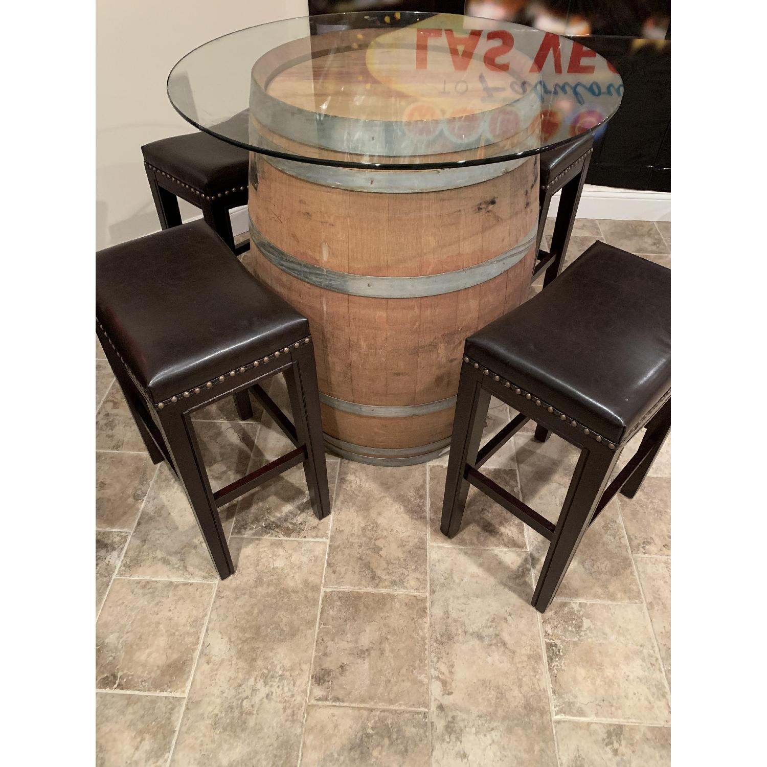 Wine Barrel Glass Top Table w/ 4 Leather Bar Stools - image-2