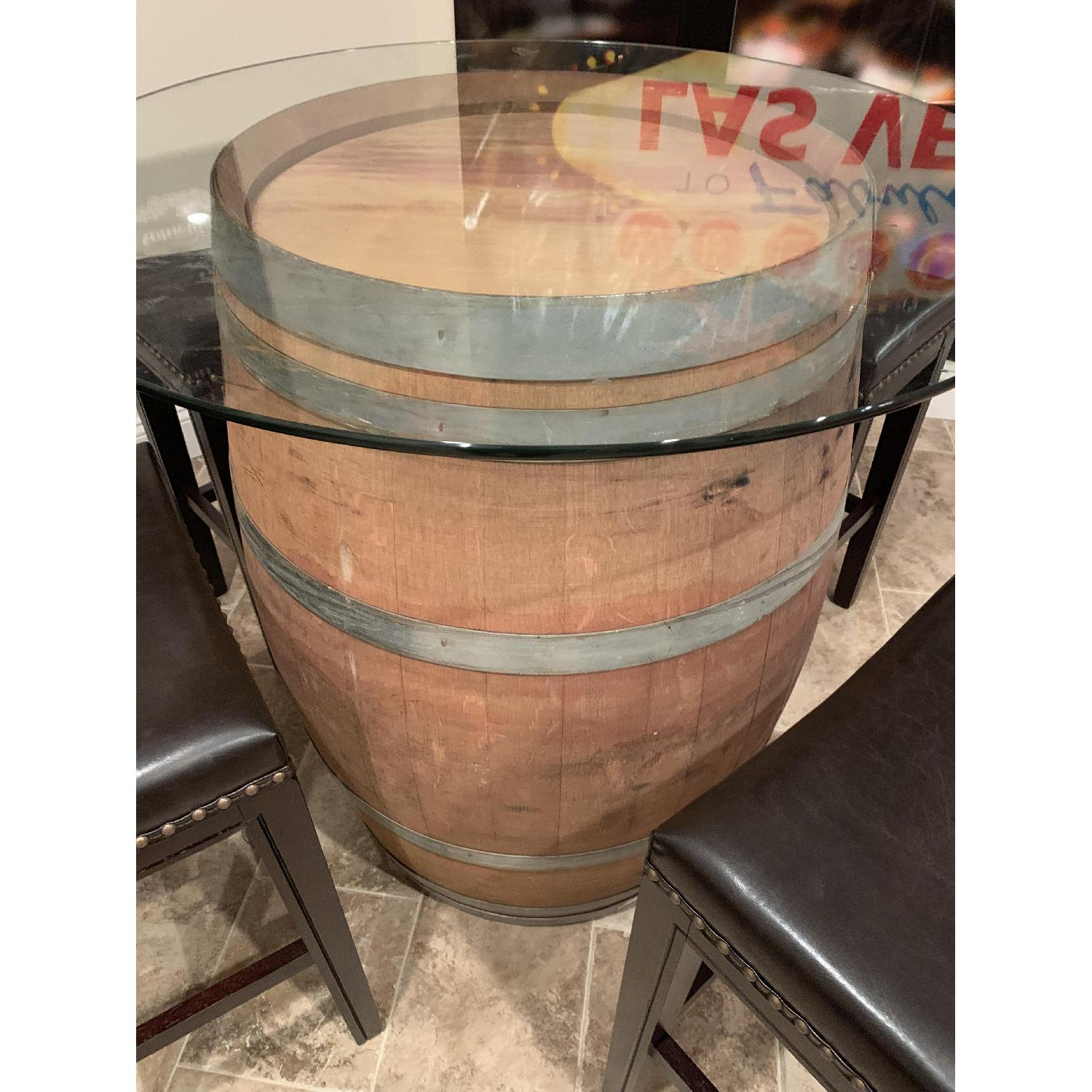 Wine Barrel Glass Top Table w/ 4 Leather Bar Stools - image-4