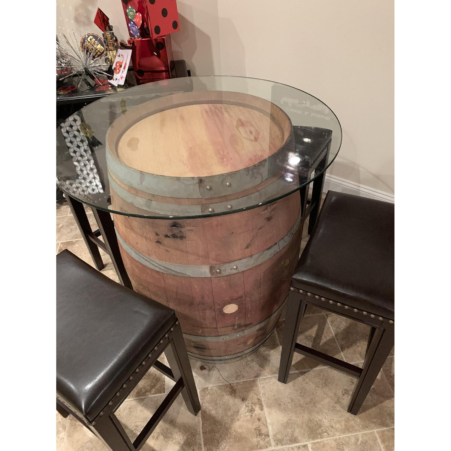 Wine Barrel Glass Top Table w/ 4 Leather Bar Stools - image-5