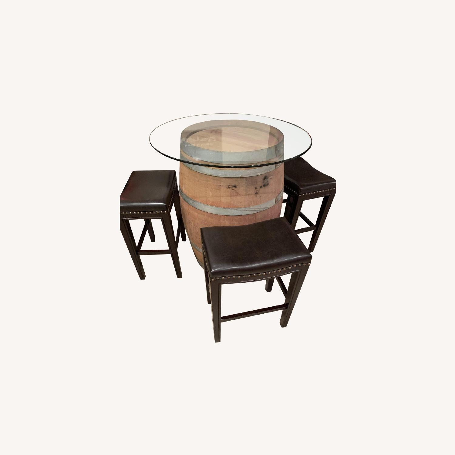 Wine Barrel Glass Top Table w/ 4 Leather Bar Stools - image-0