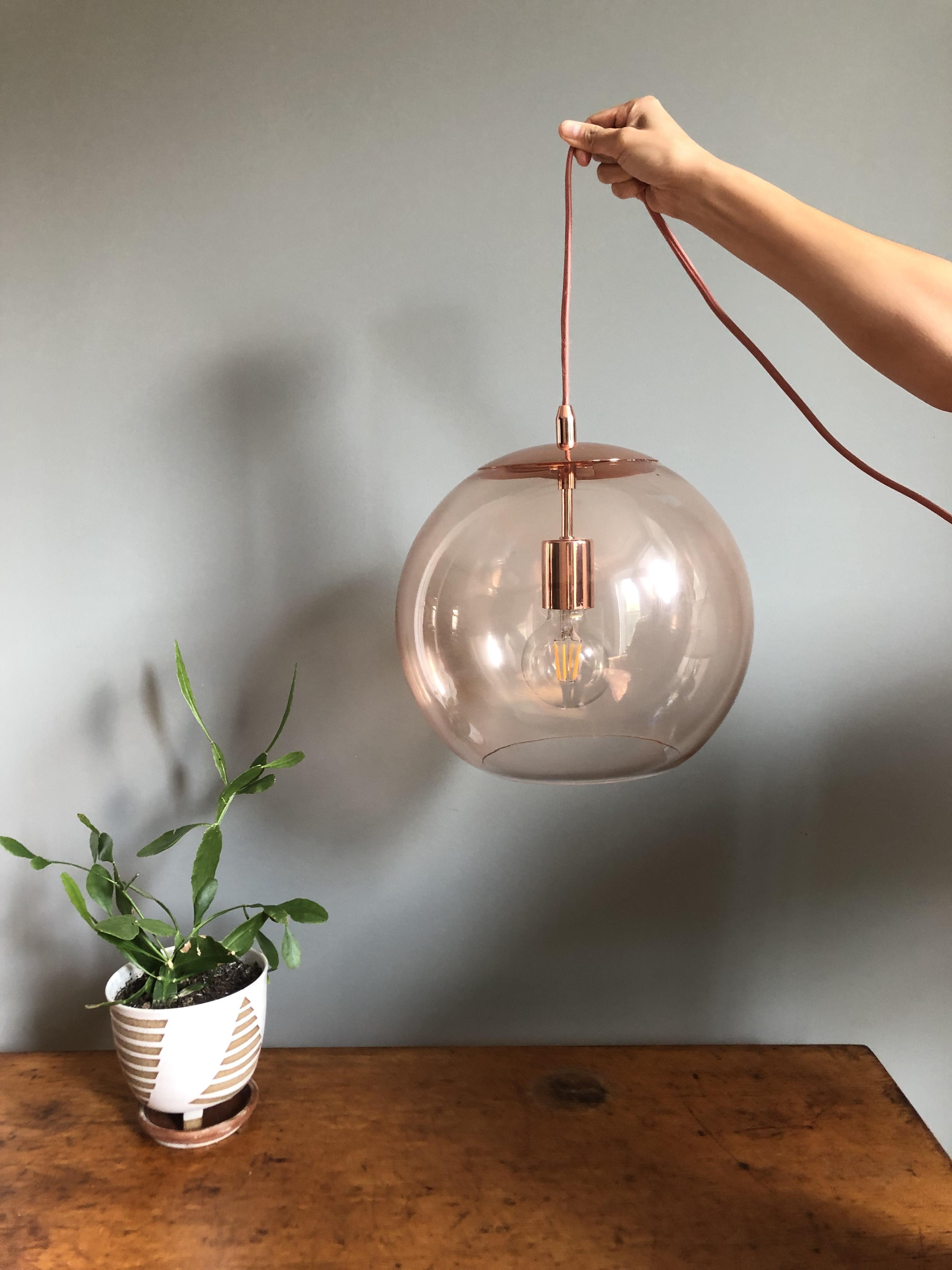 Urban Outfitters Emelle Rose Gold Glass Pendant Light