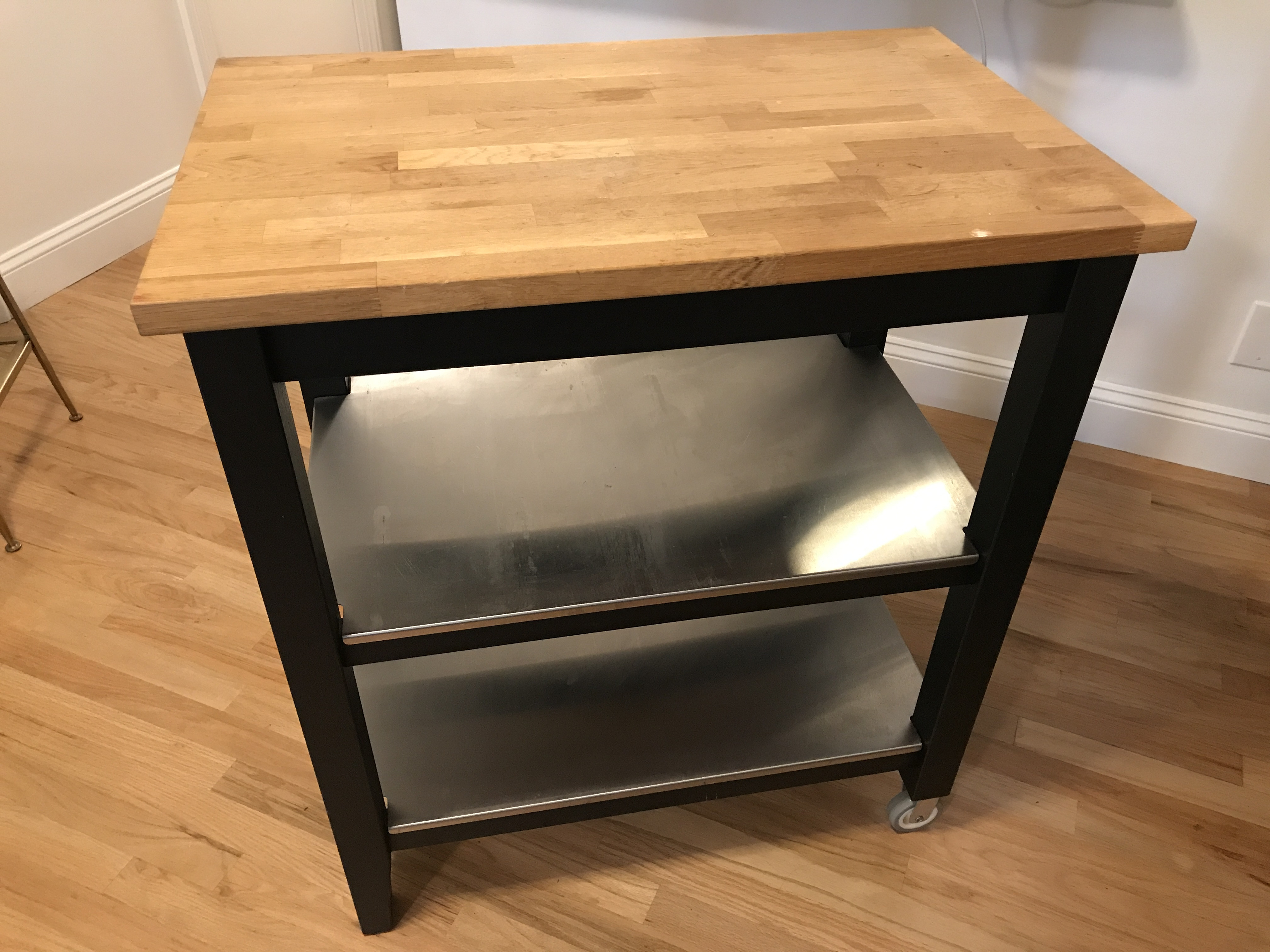 Ikea Butcher Block Kitchen Island Cart - AptDeco