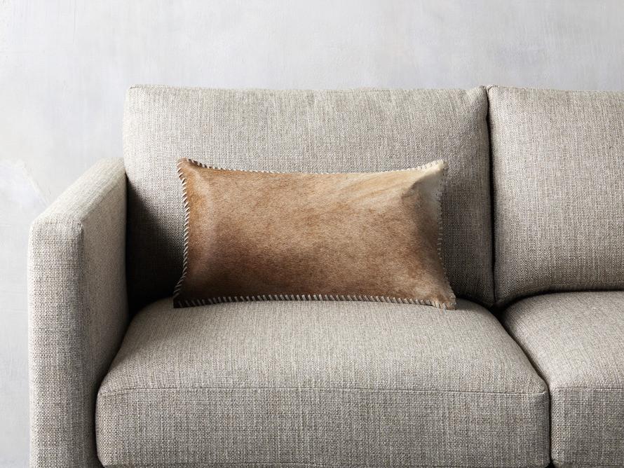 Arhaus Whipstitch Hide Lumbar Pillow in Tan